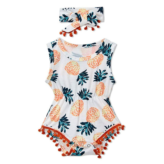 Baby Girl Tropical Pineapple Romper with Pompoms + Headband Set