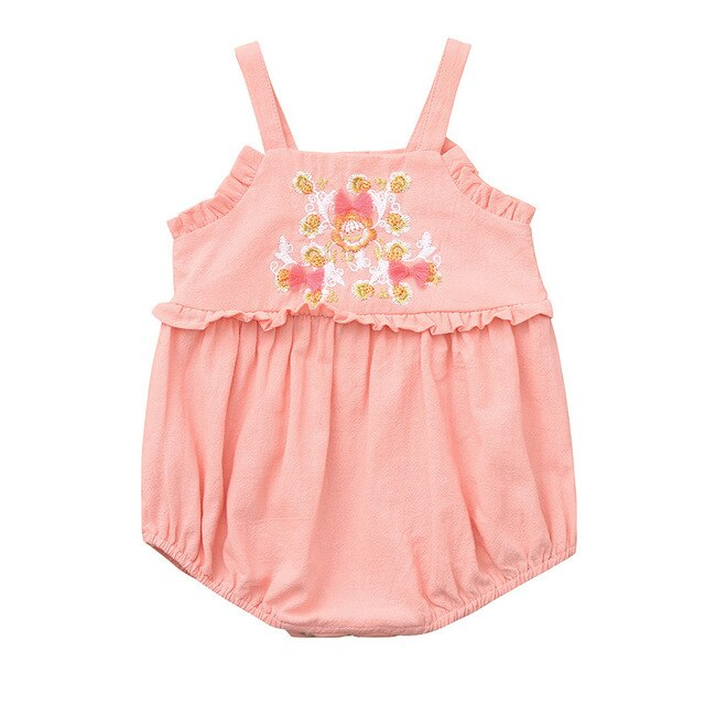 Baby Girl Summer Romper with Ruffles and Floral Embroidery