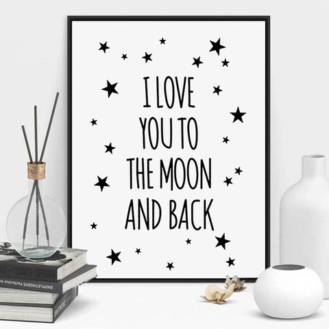 I Love You To The Moon And Back Quote Poster Posters - Lollabuy