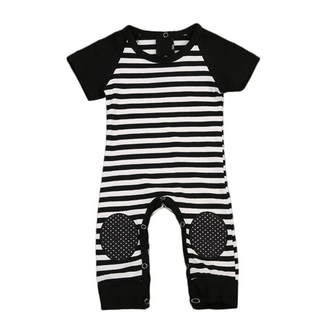 Baby Boy Black and White Stripped Romper with Dotted Kneepads