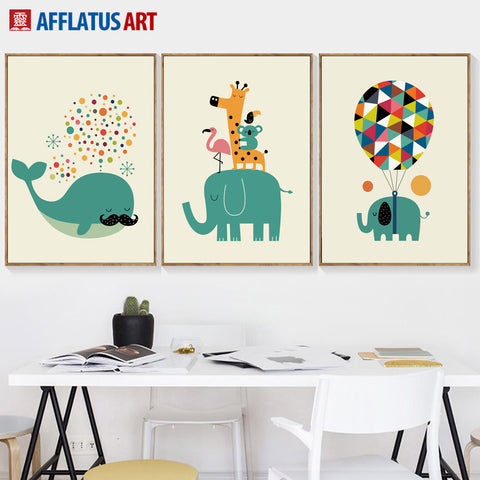 Whale Elephant Party Posters Posters - Lollabuy