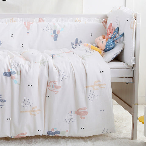 7 Piece Cactus Print Nordic Style Crib / Toddler Bed Set Bedding Sets - Lollabuy