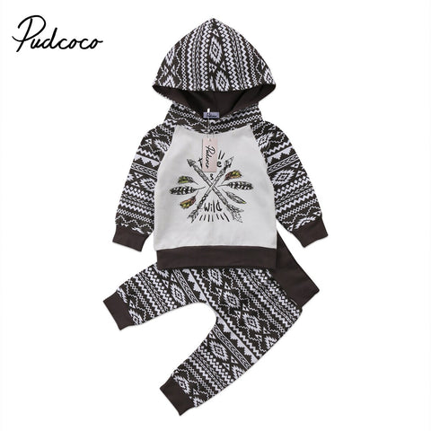 "Baby Boy Black and White ""Free & Wild"" Hoodie + Pants Set"