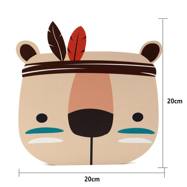 Wooden Forrest Animal Heads Wall Decor Wall Stickers - Lollabuy
