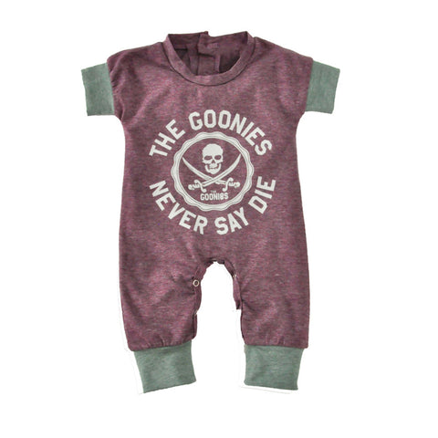 'The Goonies Never Say Die' Short Sleeve Romper Rompers - Lollabuy