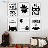 Black White Be A Brave Superhero Poster Collection Posters - Lollabuy