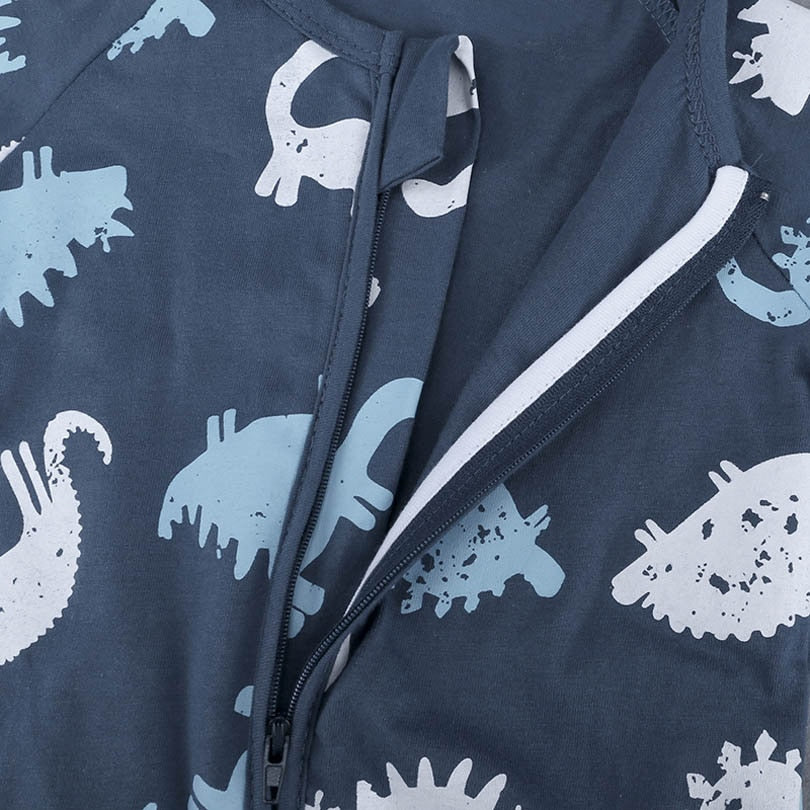 Baby Boy Blue Zipped Dinosaur Romper
