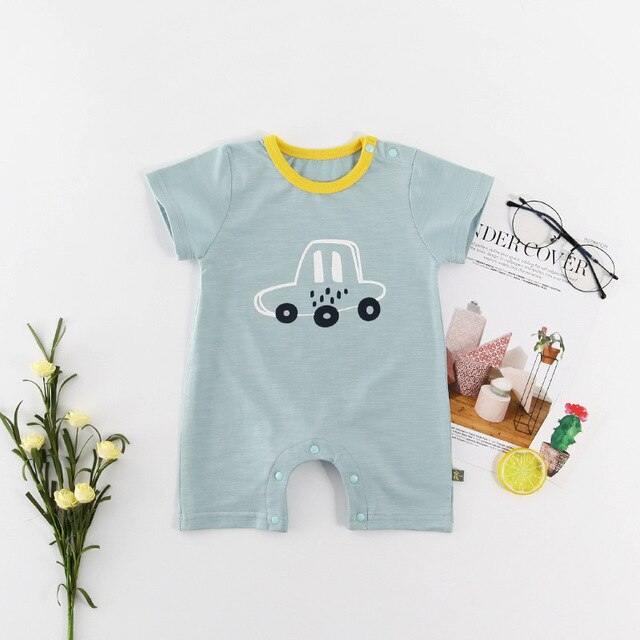 Baby Boy Light Green Cute Car Romper