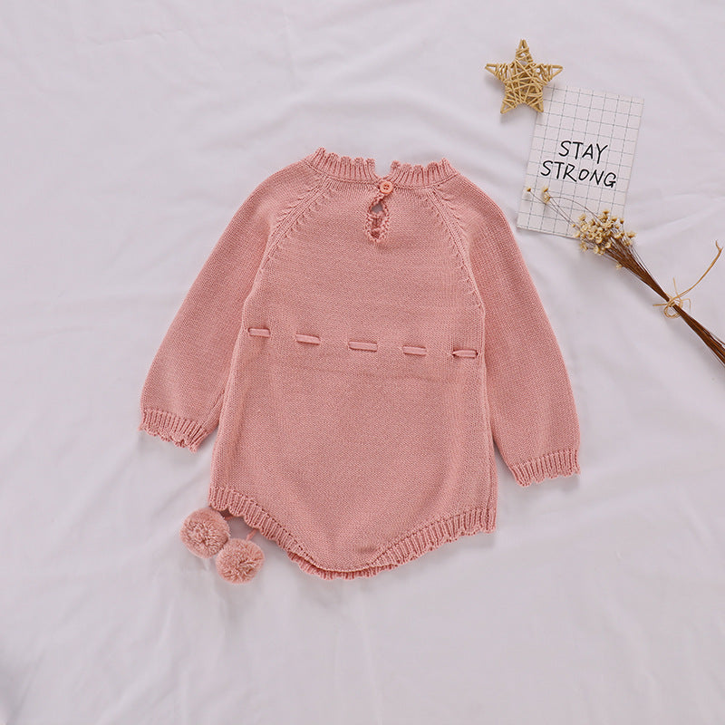 Baby Girl Vintage Style Long Sleeved Romper with Pompom