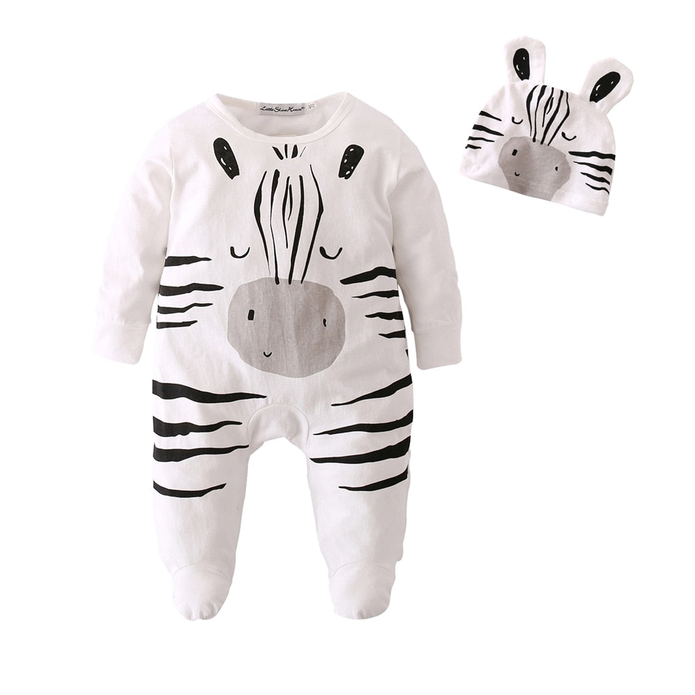Unisex Black and White Zebra Onesie + Hat Set