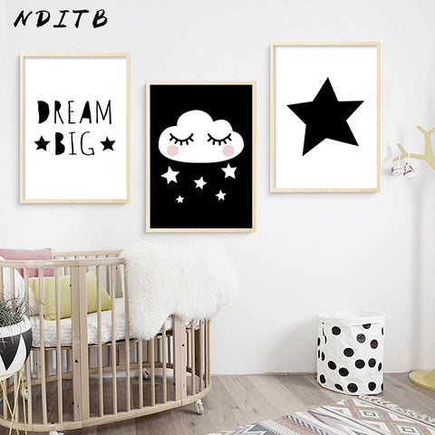Cute Black and White Dream Big Poster Collection