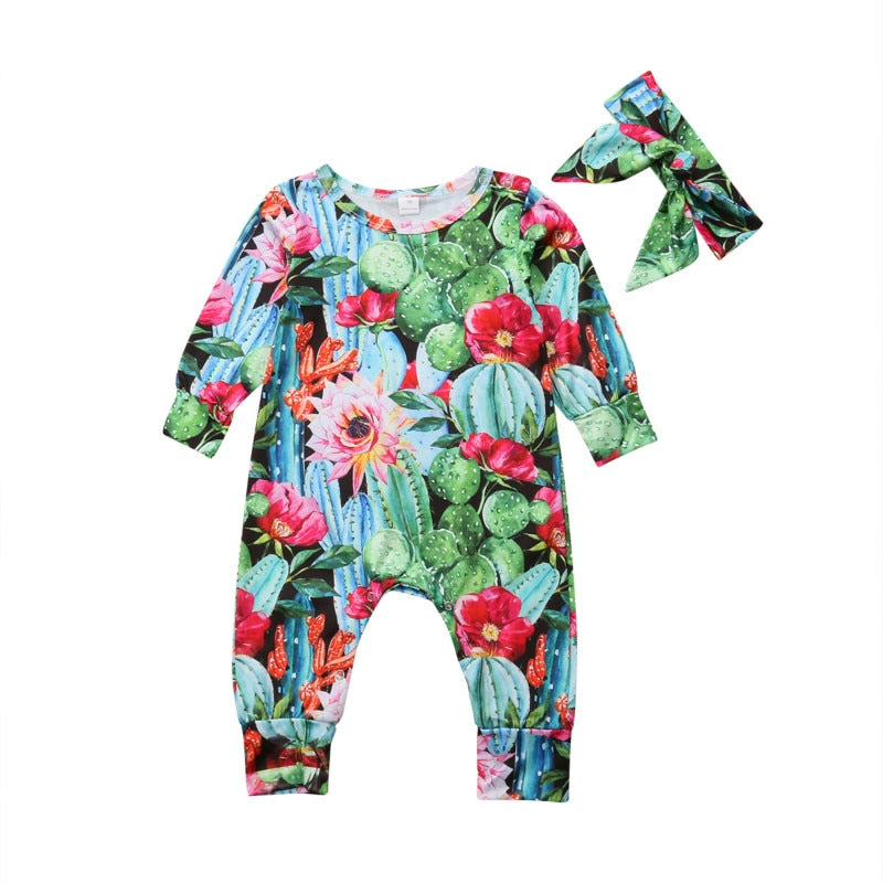 Baby Girl Super Colorful Cactus Romper + Headband Set