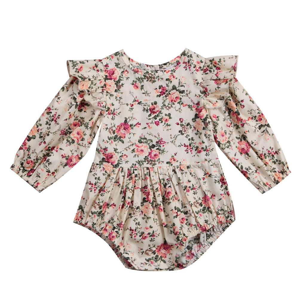 Baby Girl Floral Bodysuit with Ruffled Sleeves
