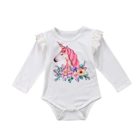 Baby Girl Unicorn Bodysuit with Lace Ruffles