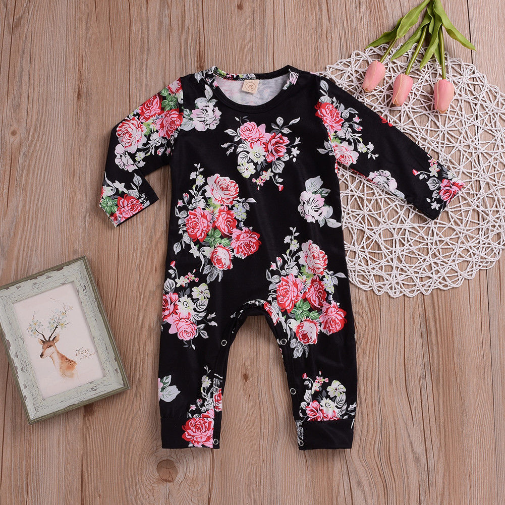 Baby Girl Black Romper with Pink Floral Print