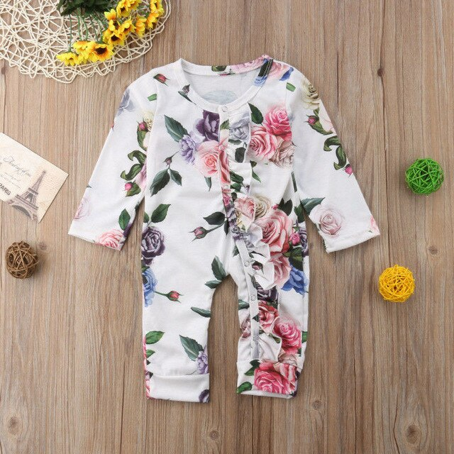 Baby Girl Romper with Floral Print and Ruffles Details