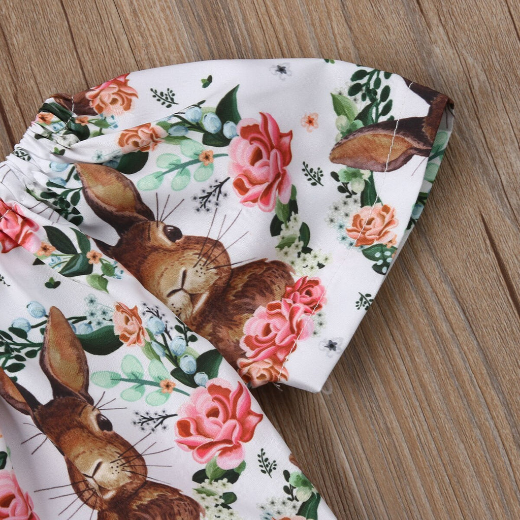 Baby Girl Flowers and Bunny Ruffled Bodysuit