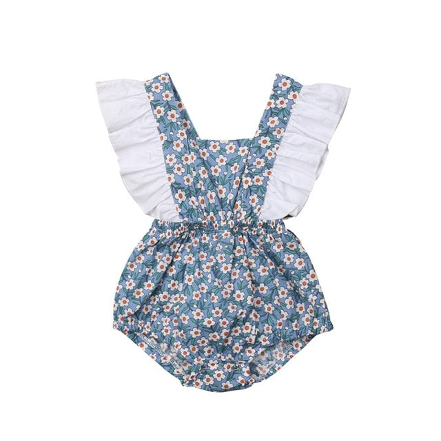 Baby Girl Romper with Liberty Print and Ruffles Detail