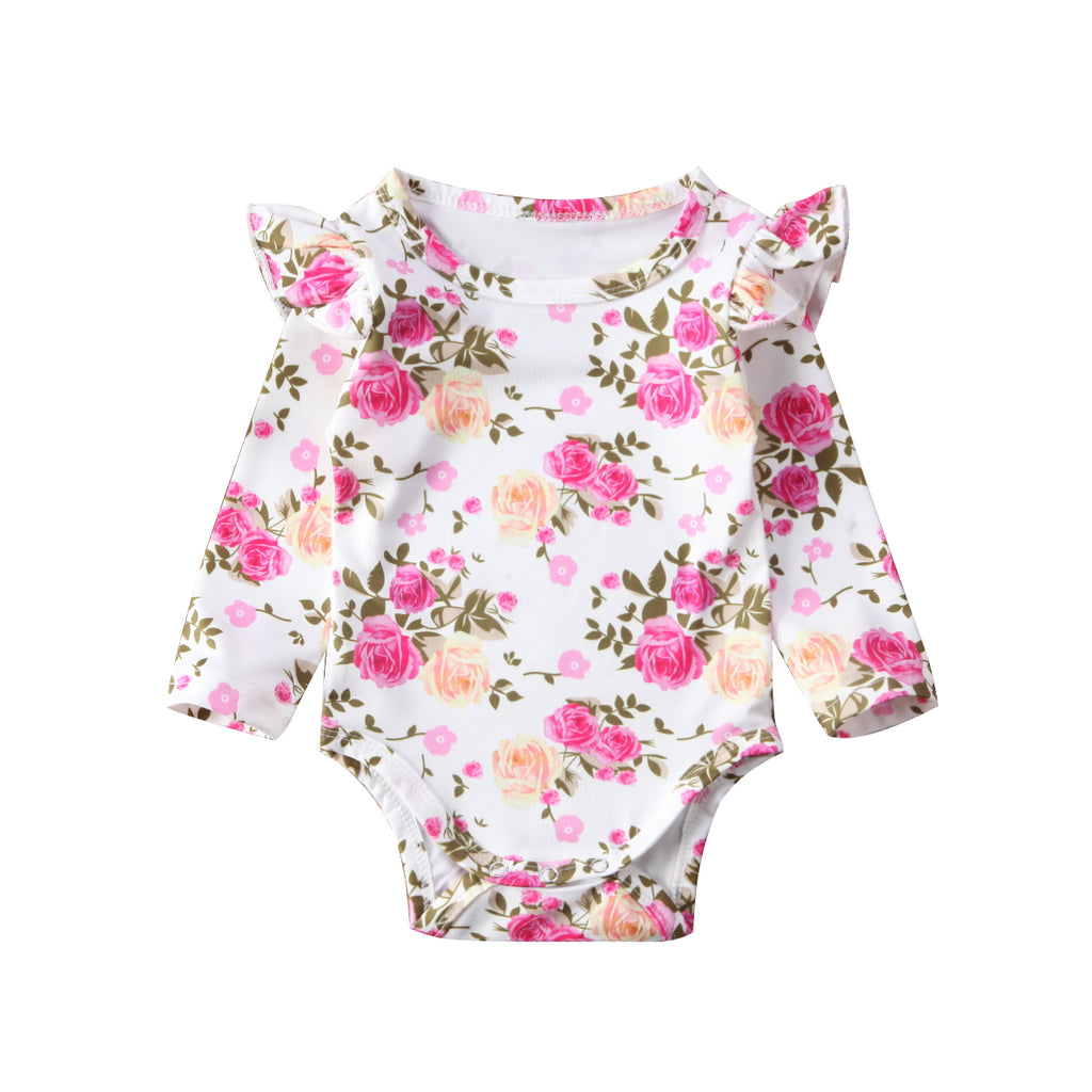 Baby Girl Bodysuit with Floral Roses Print and Ruffles Detail