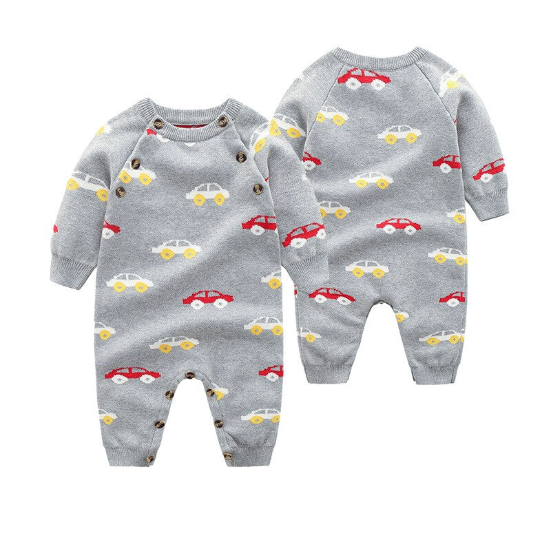 Baby Boy Chic Knitted Romper with Cars Print