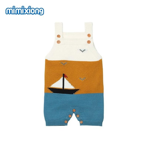 Baby Boy Vintage Style Boat Knitted Romper