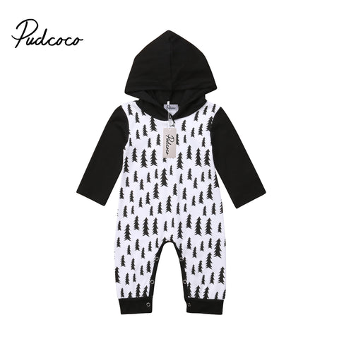 Baby Boy Black and White Hooded Romper with Pinetree Print