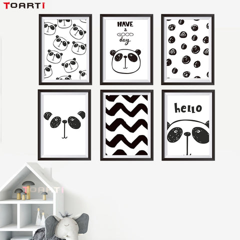 Cute Cartoon Black and White Panda Pattern Poster Collection