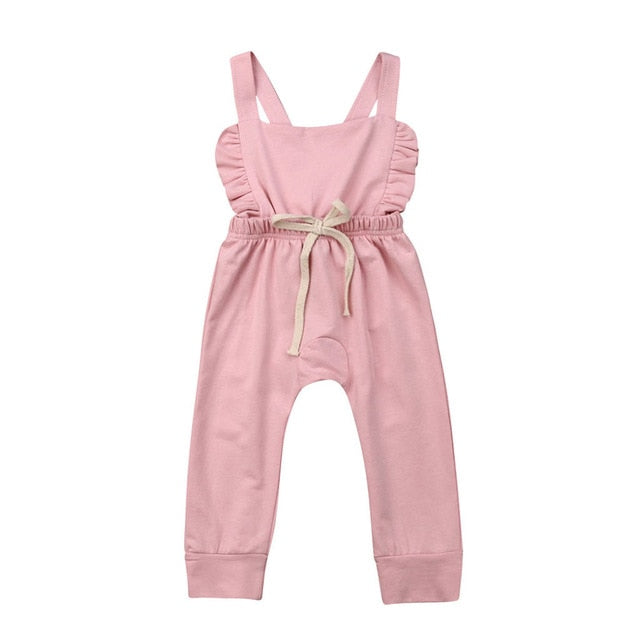 Baby Girl Vintage Style Backless Ruffled Romper