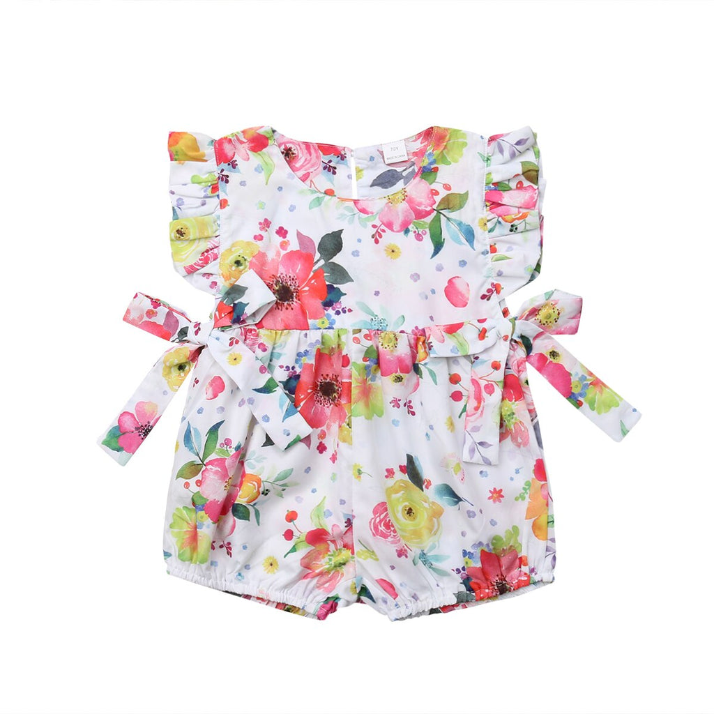 Baby Girl Summer Romper with Colorful Floral Print