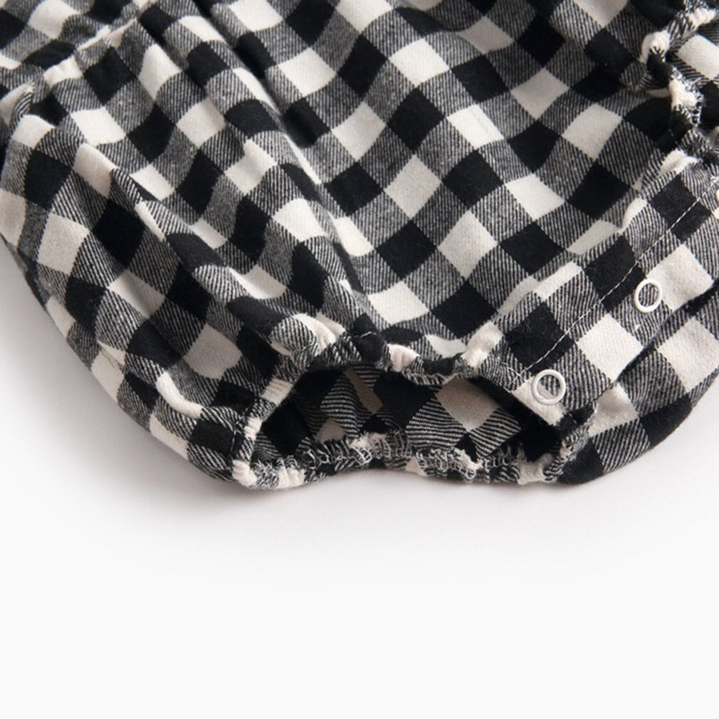 Baby Girl Black & White Gingham Print Bodysuit with Collar