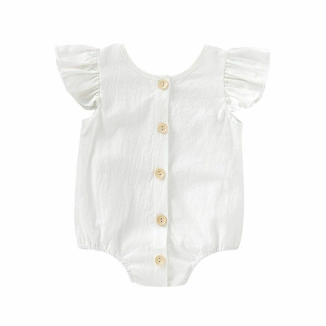 Baby Girl Vintage Style Jumpsuit with Buttons and Ruffled Short Sleeves