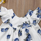 Baby Girl White Blouse with Blue Flowers Print + Short Set