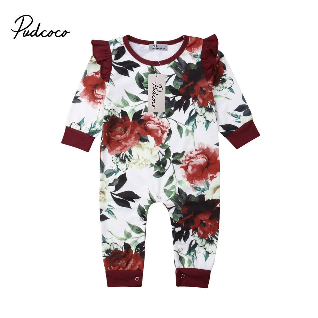 Baby Girl White Romper with Burgundy Floral Details