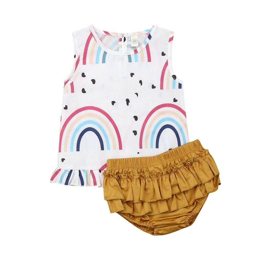 Baby Girl Rainbow Top + Ruffled Panties Set