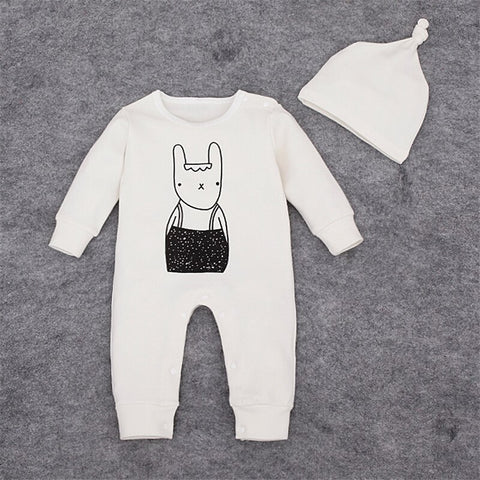 Unisex Black and White Artsy Bunny Romper + Hat Set