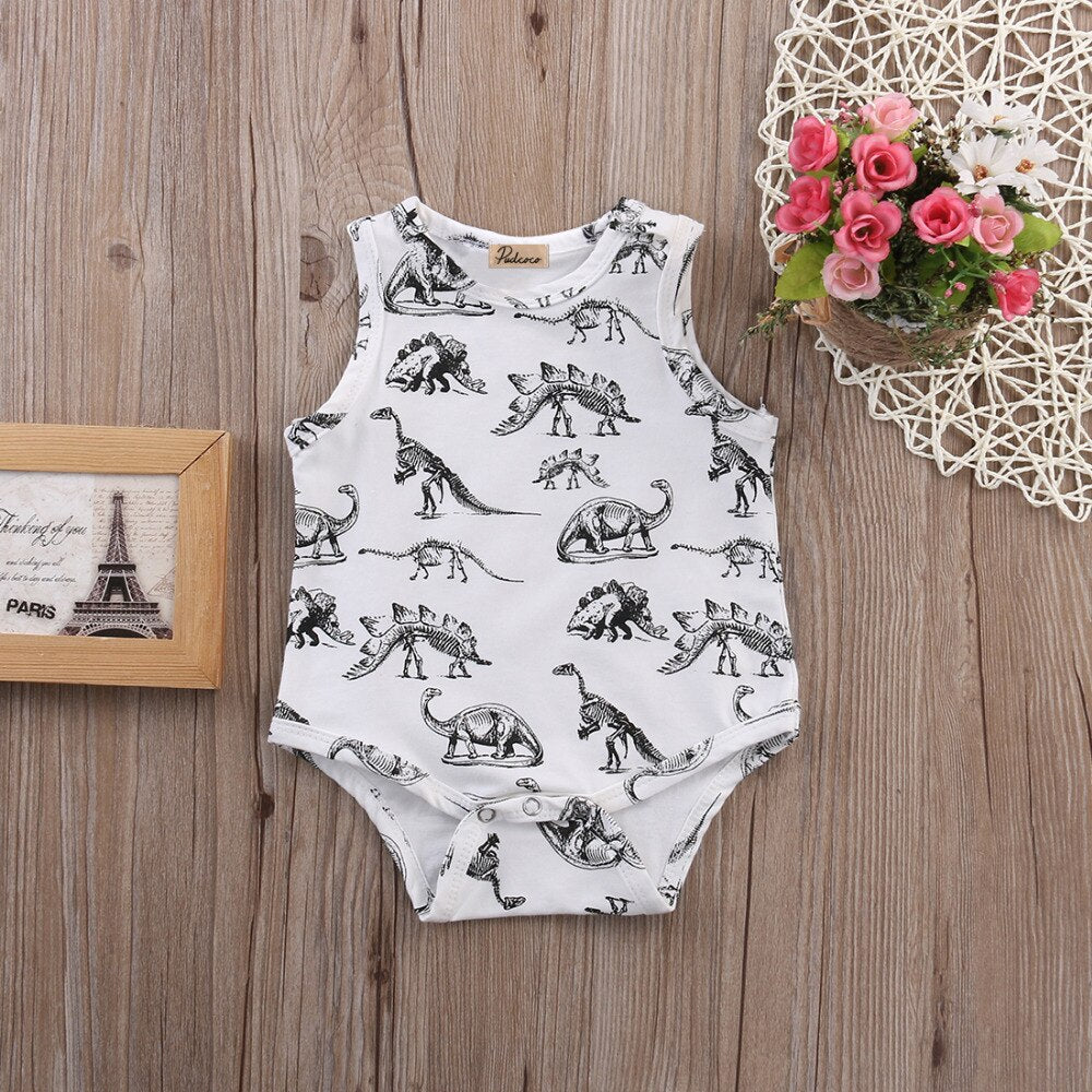 Baby Boy Black and White Dinosaur Bodysuit