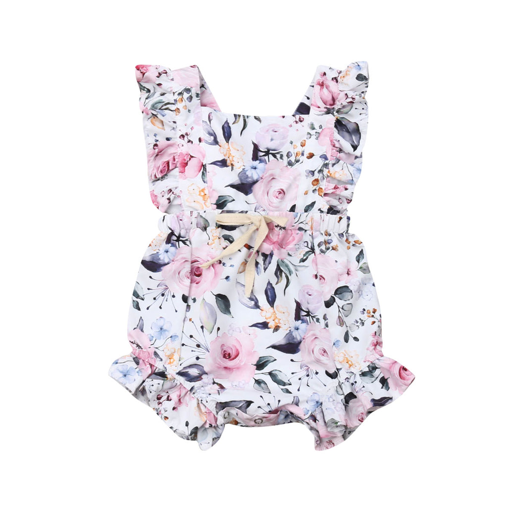 Baby Girl Summer Romper with Roses Print
