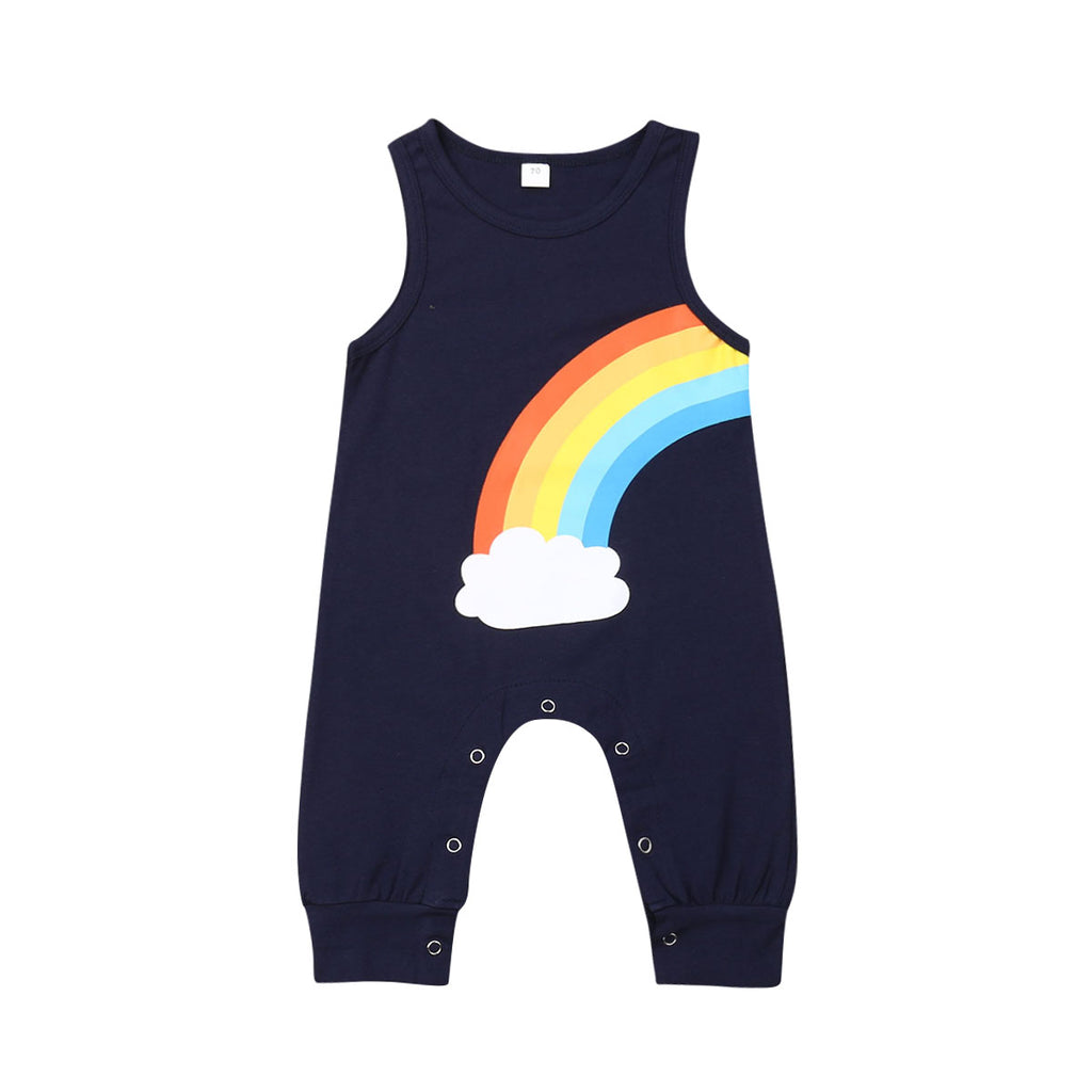 Unisex Dark Blue Rainbow Romper