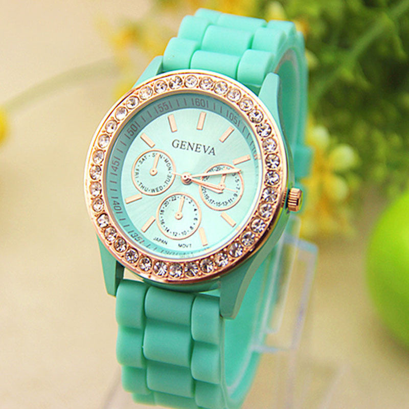 Hot Selling Geneva Watch Women Silicone Dress Watch Women Crystal Silicone Watches  Quartz Wristwatches Relojes Mujer