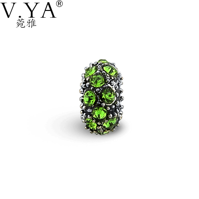 V.Ya New Fashion DIY Green Cubic Zirconia Round Loose Beads fit for Pandora Accessories CZ Crystal Bead for Chain Women TZ162
