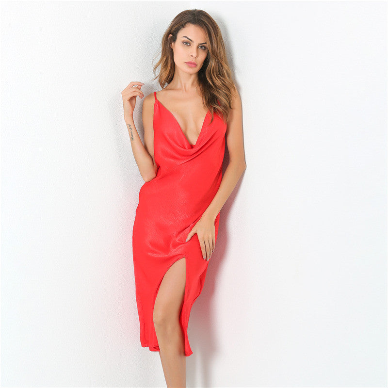 2017 new autumn dress woman flounced down low collar loose solid dress deep V collar sexy party dress