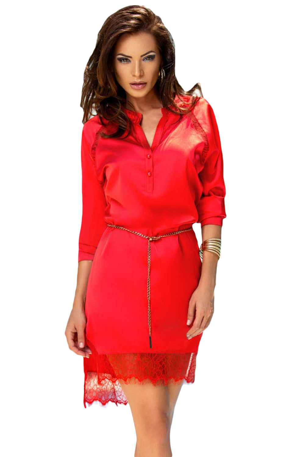 Charming Red Long Sleeve Shirt Dress with Waist Chain