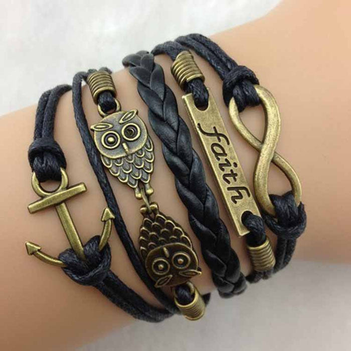 Rope Bracelets Wrap Bracelets Wholesale Bangle Vintage Braided Anchors Rudder Metal Leather Bracelet Multilayer