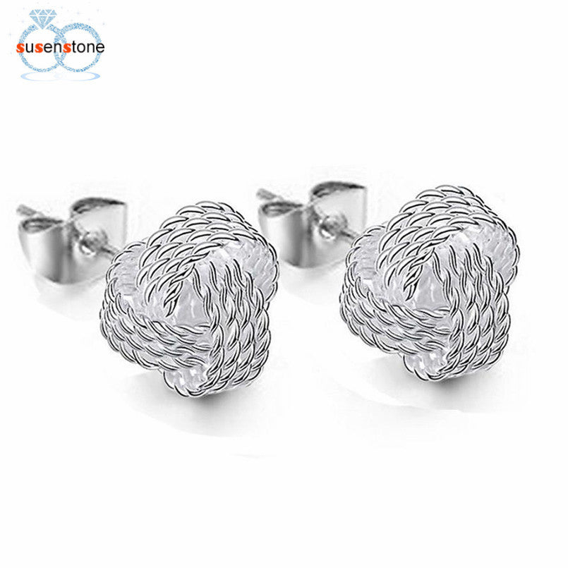 SUSENSTONE Simple Fashion Ball Slide Ear Stud Earrings Women Jewelry