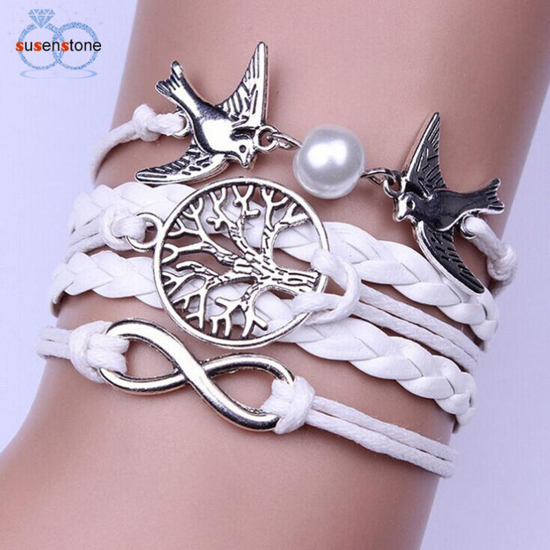 SUSENSTONE Jewelry accessories Infinity Handmade Adjustable Pigeon Leather Multilayer Bracelet Wristband pulseira masculina
