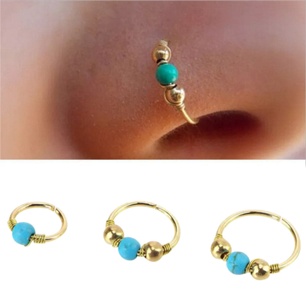 1xStainless Steel Hand knitted Nose Ring Nostril Hoop Nose Earring Piercing Jewelry #30