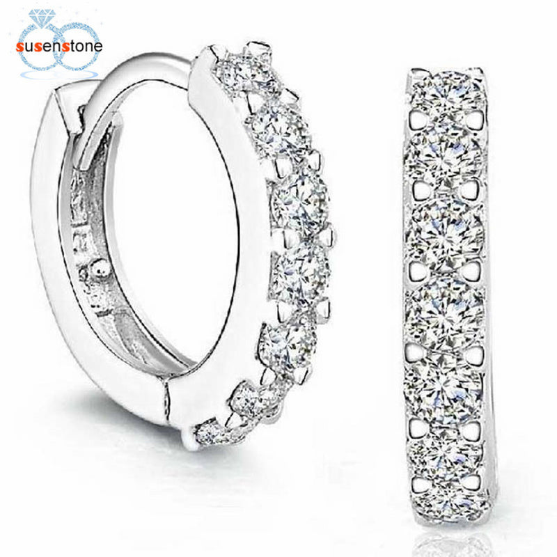 SUSENSTONE Sterling Silver Rhinestones Earrings for Women