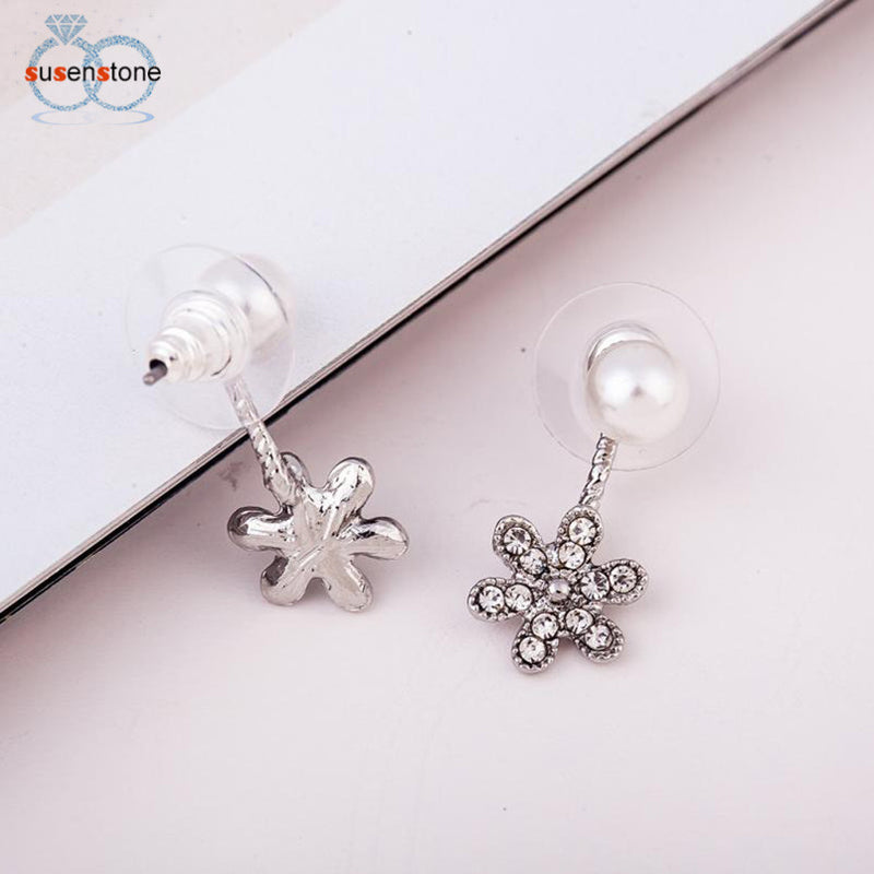 SUSENSTONE Fashion Elegant Women Plated Flower Crystal Rhinestone Ear Stud Earrings