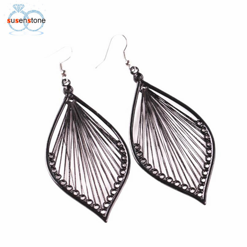 SUSENSTONE 1Pair Fashion Women Alloy Leaf Dangle Earings Eardrop Jewelry New