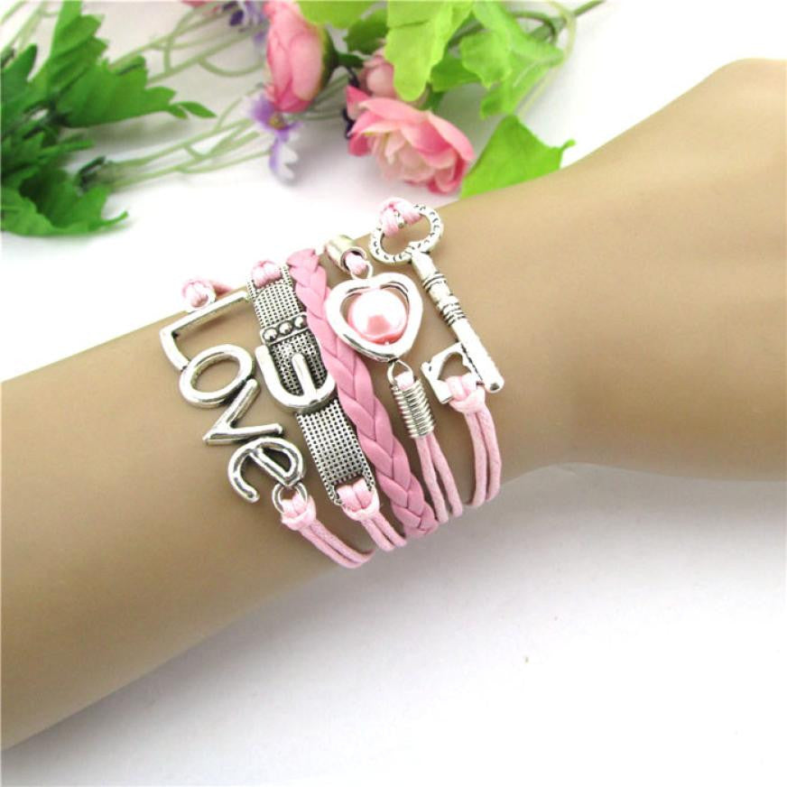 women bracelet Alloy Rope Leather kids Infinity OVE key buckle peach heart pearl multi-strand braided rop Bracelet Pink 17cm